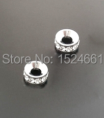 30 PCs Silver Plated Rhinestone Spacers Beads Findings 8mm *bead caps toggle clasp brooch findings connector charms(China (Mainland))