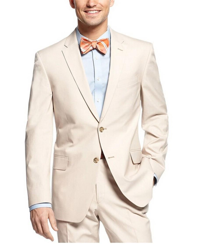 Side Vent trajes para hombre padrinos de Notch solapa del novio esmoquin Beige Wedding mejor juego del hombre ( Jacket + Pants + vest + Tie + pañuelo ) B670(China (Mainland))
