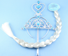 Child Hair Jewelry Sets Elsa Anna Princess Crown Wig and Magic wand Girl's Gift Birthday gifts Christmas gifts YPQ0307(China (Mainland))