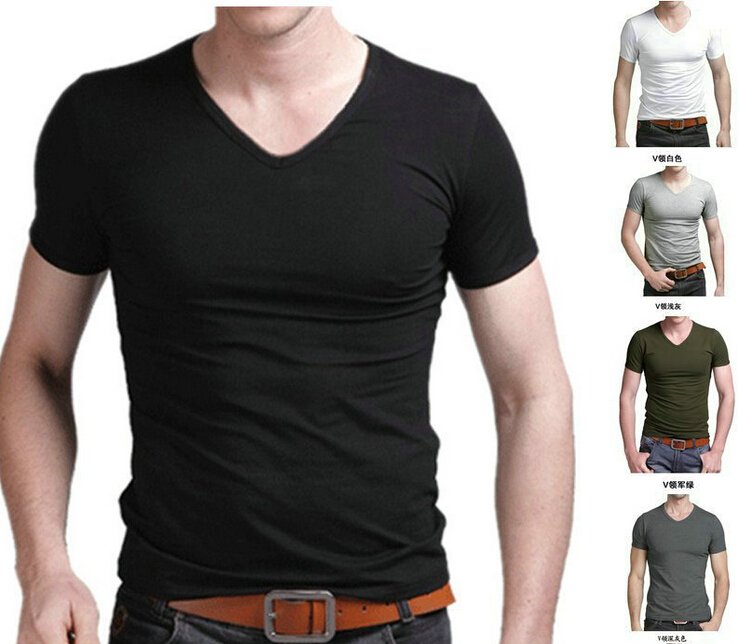 Mens Tops Tees 2015 summer new cotton v neck short sleeve t shirt men fashion trends fitness tshirt free shipping Size S-XXXLОдежда и ак�е��уары<br><br><br>Aliexpress
