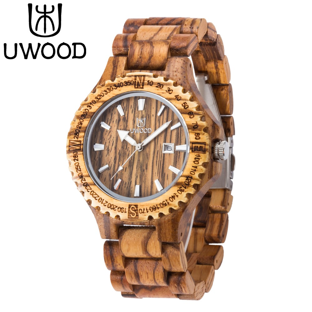 Men's Wooden Watch 2016 Newest Japan Movt Quartz Analog Date Natural Zebra Wood Watch Men Wristwatches Best Gift Free Shipping(China (Mainland))