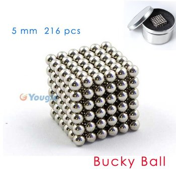 216 pcs D 5mm Silver The Neocube neodymium Toy Neo Cubes Puzzle Cube Toy Sphere Magnet Magnetic Bucky Balls Buckyballs