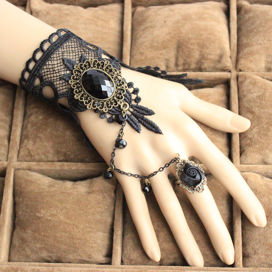 Vintage black lace bracelets 2014 new gothic gloves for Decor jewelry