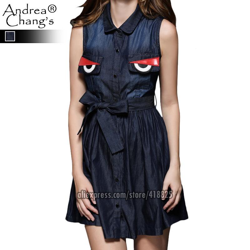 2015 spring summer designer women's dresses dark blue denim dress red embroidered chest pockets fashion casual cute brand dress(China (Mainland))