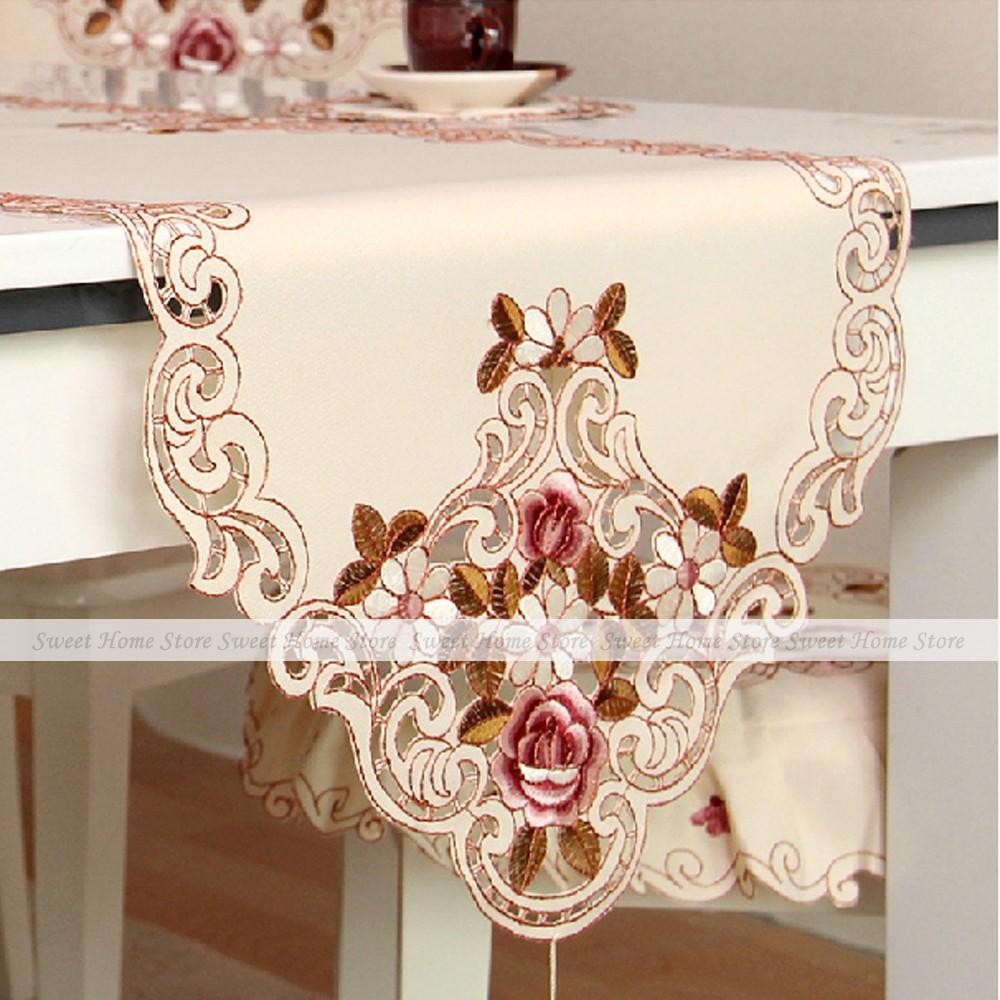 YEVITA Embroideredo Rose Floral Cutwork Decorative Fabric Table Runner 40x175cm(China (Mainland))