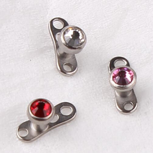 titanium g23 crystal dermal anchor tops with 16g