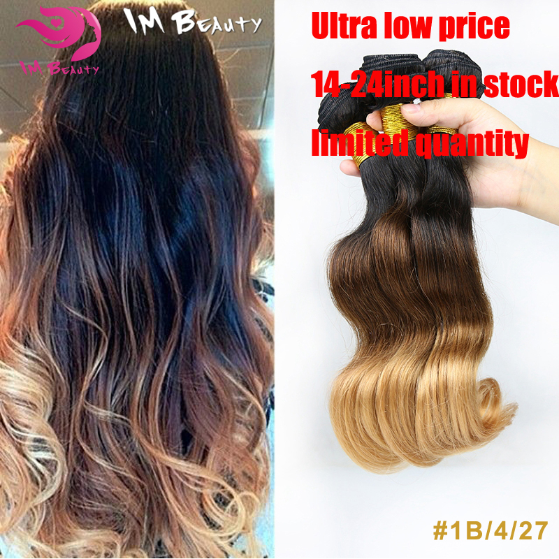 6A Unprocessed Ombre Virgin Hair Brazilian Body Wave #1B/#4/#27 Ombre Brazilian Hair Weave 3 Bundles Ombre Human Hair Extensions
