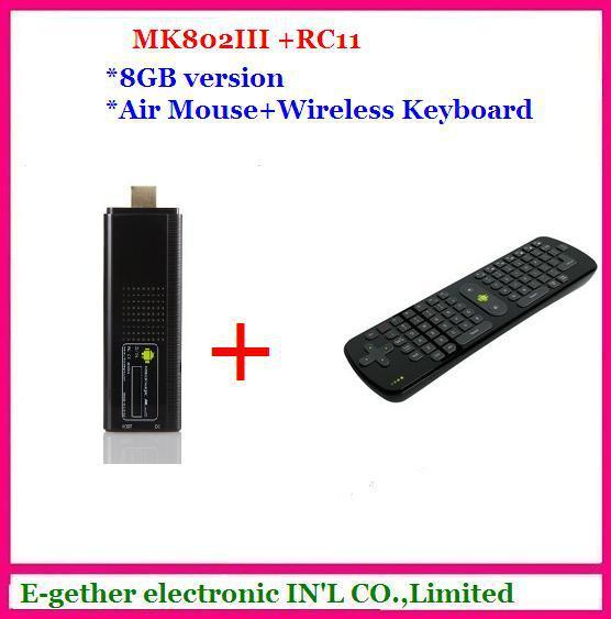 hot sale for Rikomagic MK802 III Dual Core Mini Android 4.1 PC RK3066 1.6Ghz Cortex A9 1GB RAM 8G ROM HDMI [MK802-III+RC11I]