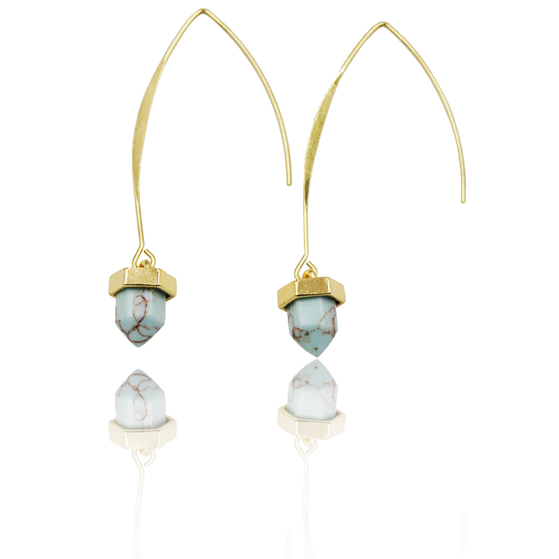 Simple Punk Faux Pile Marble Stone Natural Stone White Green Turquoise Hexagonal Column Drop Earrings Women Summer Jewelry(China (Mainland))