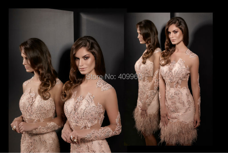 O Round Neck Sheer Shiny Sparkly Beads Diamonds A Line Short Long Sleeves Luxury Ostrich Feather Cocktail Dress 2015 Party Gowns(China (Mainland))