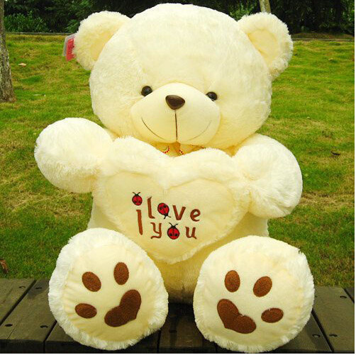 grande vente blanc jaune 50 cm mignon gros nounours je te aime en peluche animal jouet cadeau d. Black Bedroom Furniture Sets. Home Design Ideas