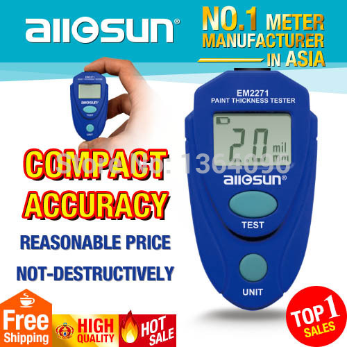 all-sun EM2271 Digital LCD Coating Thickness Gauge Car Paint Thickness Meter Enamel Plastic Epoxy With Russian Instruction Book(China (Mainland))