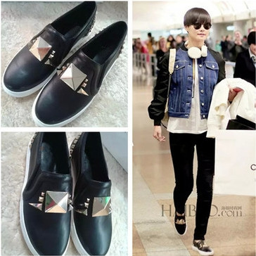 give 2015 women's genuine leather rivet flats mental cap toe leather skate shoes loafer slip on espadrilles flats(China (Mainland))