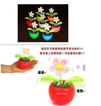 5pcs/lot Solar Powered Flip Flap Flower Cool Car Dancing Toy,Free shipping,Drop ship