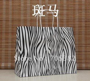 33X26X12Ccm, Big Size Zebra Shopping bag, Kraft paper bags with handle, Wholesale price (dd-198)(China (Mainland))