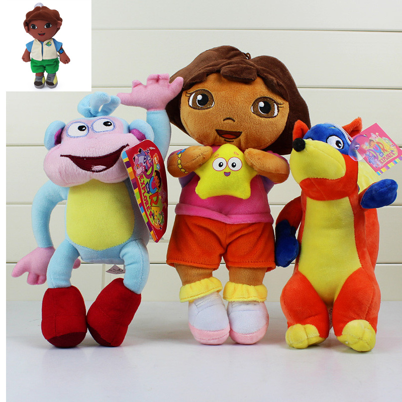 20-30CM Dora the Explorer Plush Toys Dora boots Monkey Swiper Fox Go Diego Doll Toys For Baby Toys Gift Free Shipping(China (Mainland))