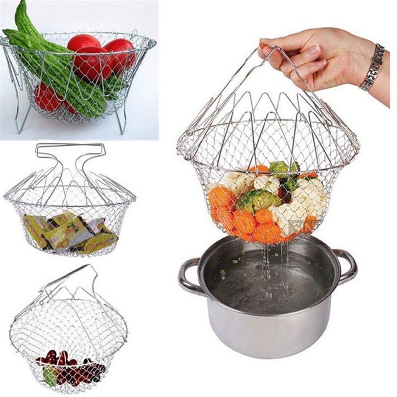 Foldable Steam Rinse Strain Fry Basket Mesh Basket Strainer Net Stainless Steel Colander Kitchen Gadgets Cooking Tools(China (Mainland))