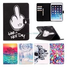 Fashion Painting Flip PU Leather Stand Protective Case for iPad Air Book Style with Card Slots for Apple iPad Air 1st/iPad 5(China (Mainland))