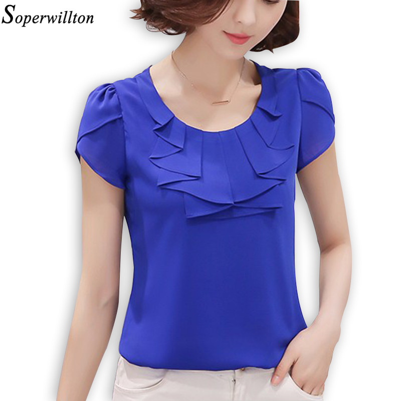 Soperwillton 2016 New Peter pan Collar Chiffon Blouse Women Summer Fashion Plus Szie Women Ruffle Shirts Ladies Casual Tops 3XL(China (Mainland))