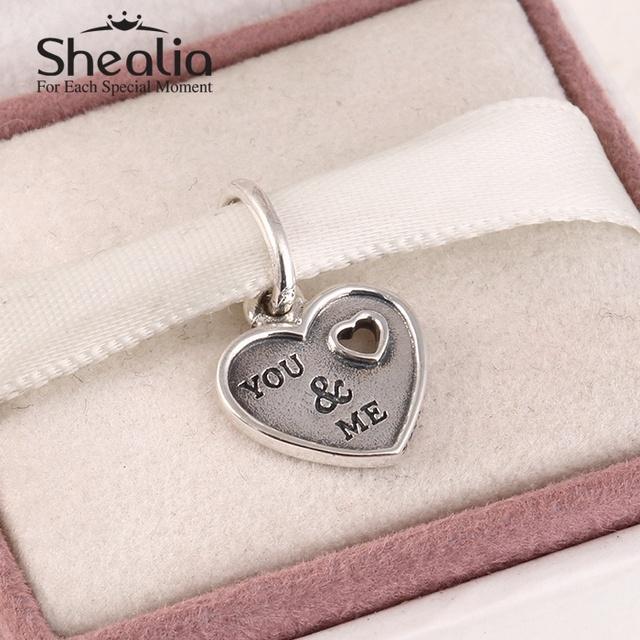 925 чистое серебро письма из вас и меня в форме сердца подвески-талисманы подвески для женщины своими руками браслеты SH0595