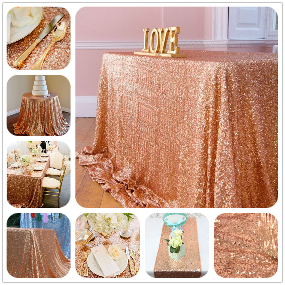 """90""""X90""""Rose Gold Sequin Tablecloth Wedding Cake Tablecloth ,Square Sequins Table Linen Wholesale Wedding Sequin Table Linens(China (Mainland))"""