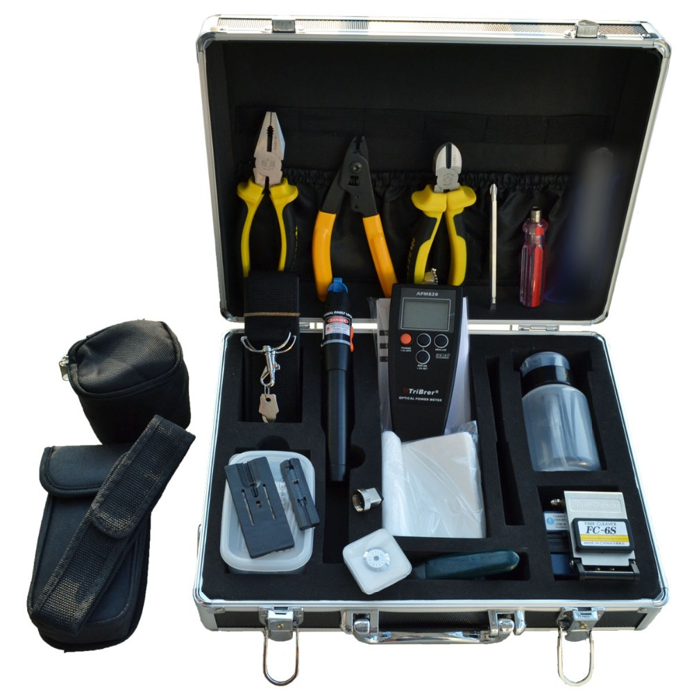 Brand New FTTH Tools KIT 23pcs/lot Fiber Optic Fast Connector TOOLS,Optical Power Meter,Optic Fiber Cleaver,Visual Fault Locater(China (Mainland))