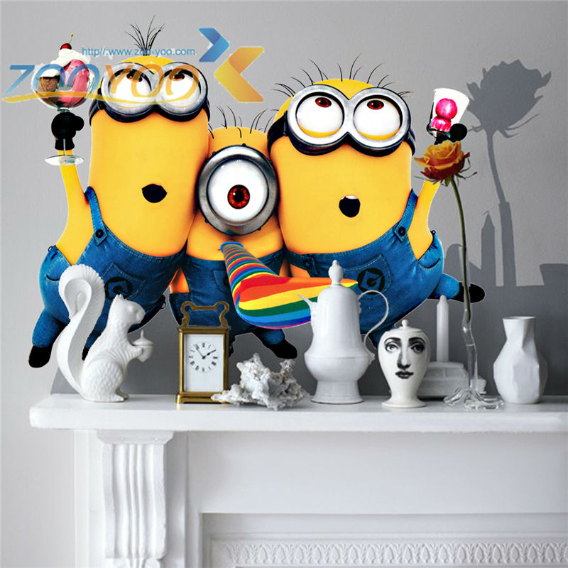 product Many  Hot Selling Despicable Me 2 Minion Movie Decal Removable Wall Sticker Home Decor Art Kids /Nursery room decoration