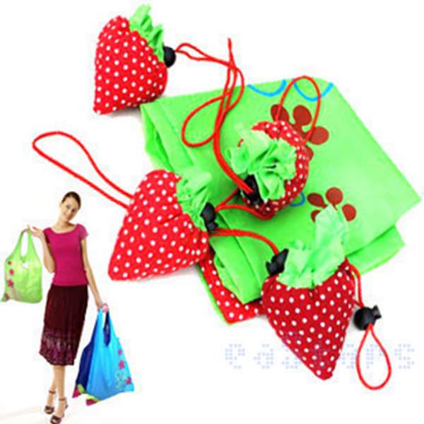 200Pcs/Lot Strawberry Reusable Shopping Shoulder Tote Bag New Free Shipping(China (Mainland))