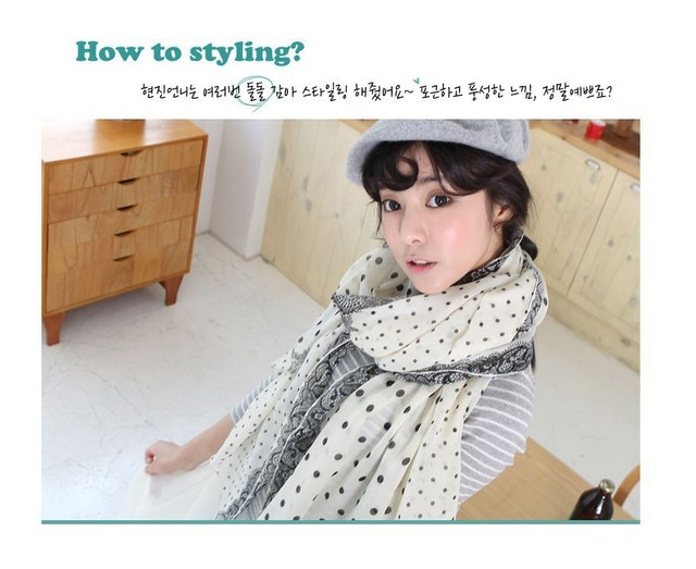 W011 Fashion New Year Christmas Gifts Korean Dot Lace Bali Sand Scarf for Women Shawl Wholesales Muffler