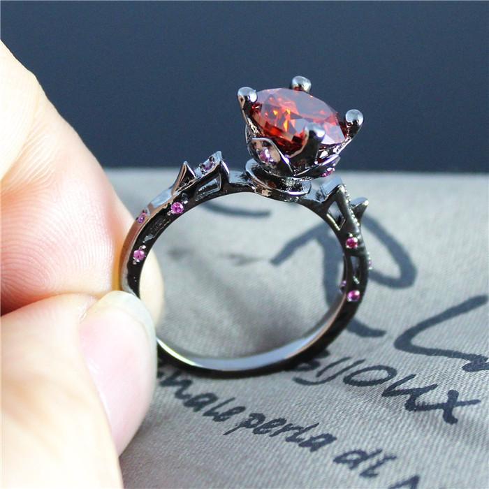 Simulated red diamond flower black rings for women men Trendy womens gifts 2015
