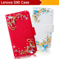 Lenovo S90 Bling bling Pink Blue White Rhinestone High quality leather Mobile phone protective holster Case