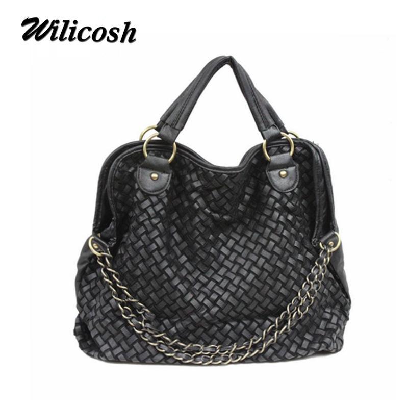 Special Offer 2016 Summer Pu leather women's shoulder bags chain woven women leather handbag bolsas women messenger bags PG055(China (Mainland))