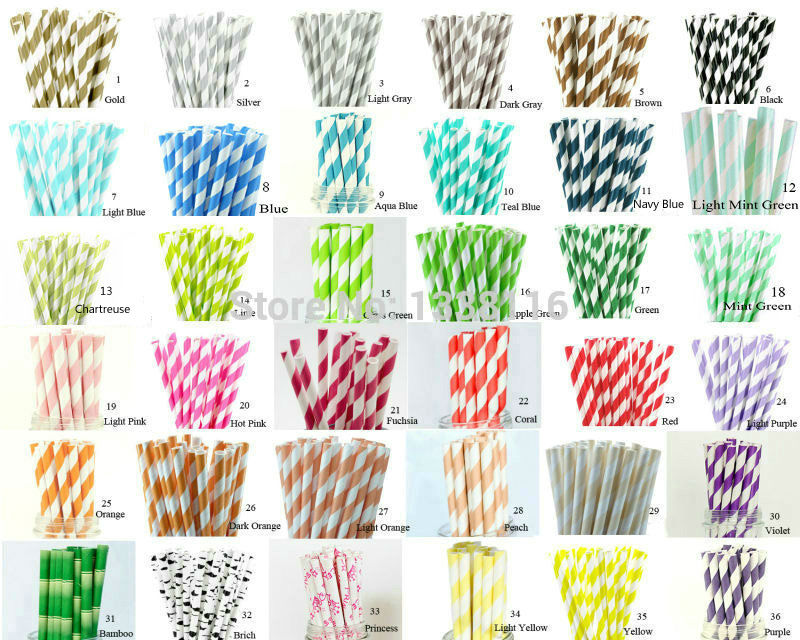 Hot Sale 100pcs Your Choice of Color Paper Straws For Kids Birthday
