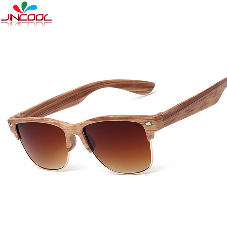 Prada Glasses Half Frame : JinCool Fake Wooden Designer Sunglass Men 2016 Half Frame ...