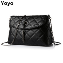 Yoyo!Plaid Small Fringe Embroidery Clutches Women Crossbody Black Bag Quilted Flap Shoulder Bag Women Messenger Chain Tassel Bag