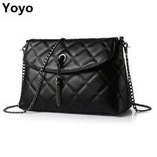Yoyo!Plaid Small Fringe Embroidery Clutches Women Crossbody Black Bag Quilted Flap Shoulder Bag Women Messenger Chain Tassel Bag