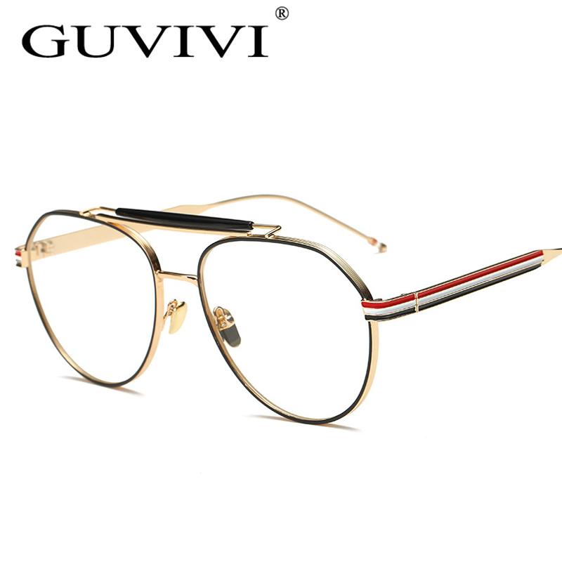 2017 guvivi designer woman glasses optical frames metal round glasses frame clear lens eyewear black silver