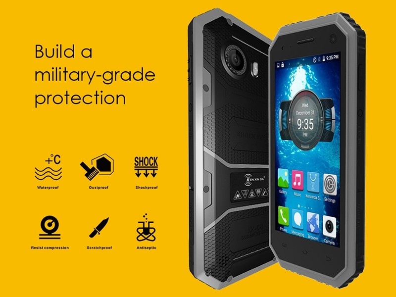 Original Kenxinda 4.5 Inch Android 5.1 MTK6735 1GB+8GB Quad Core 4G LTE 5.0MP+2.0MP Camera IP68 Waterproof Rugged Smartphone