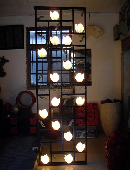 Chinese antique home decorations lotus hollow wall panels floor lamp stand screen clear dust cleared of dust and refined(China (Mainland))