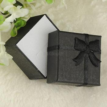 4*4*3cm jewelry ring earring bracelet ring small gift box black square carton bow case ES4538