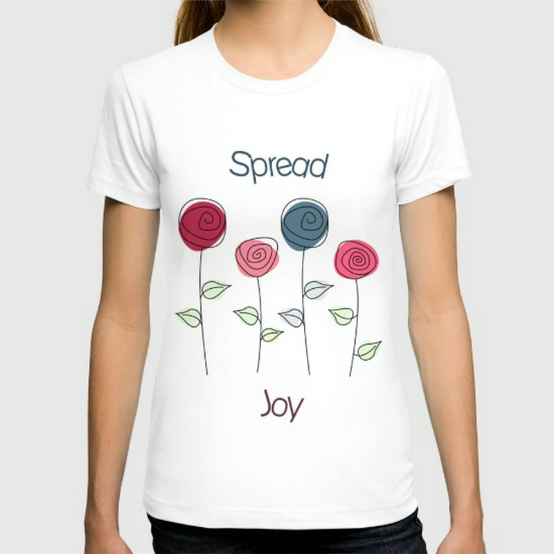 Regular Spread Joy New women's T-shirts Short Sleeve Cotton women t shirts Clothing Wholesale(China (Mainland))