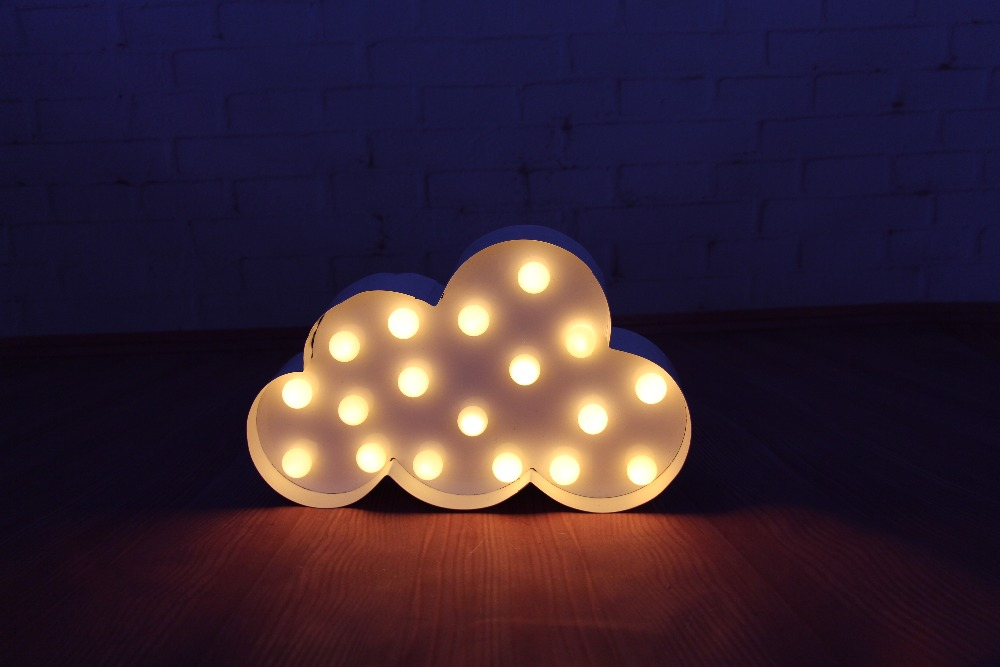 White cloud led marquee sign light up vintage metal night