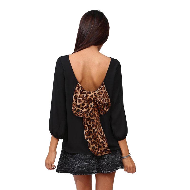 2015 Women Plus Size Top Blouses Autumn Style Chiffon Long Sleeve Black Back Bow Blouse Leopard Bowknot Shirt Leopard BlouseY379(China (Mainland))