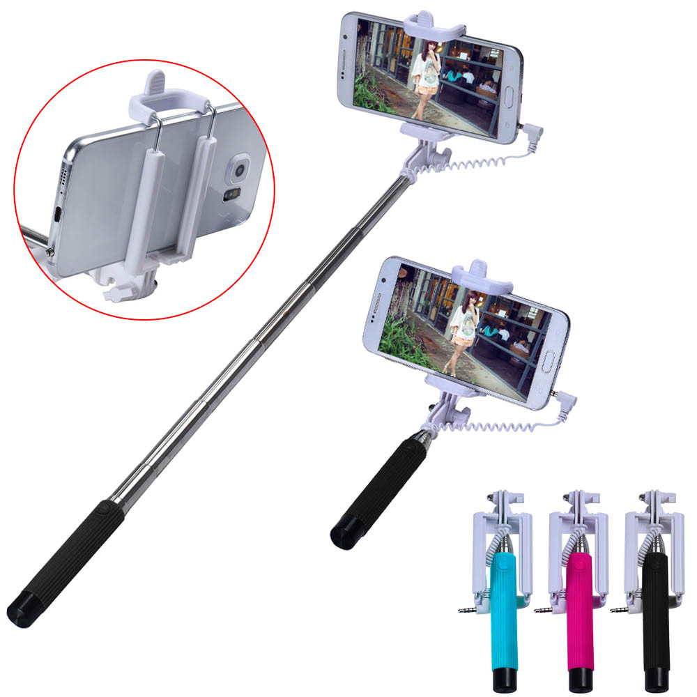 mini wired portable selfie stick extendable handheld self pole tripod built in shutter folding. Black Bedroom Furniture Sets. Home Design Ideas