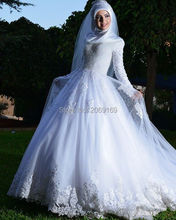 Muslim Lady Long-sleeved wedding dress with appliques elegant wedding dresses Arabs Long Train Lace Up bridal wear Income(China (Mainland))