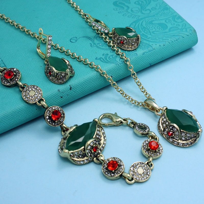Excellent Brand Emerald Green Jewelry Sets Fashion Pinarello Dogma African Costume Jewelry set Joias Vintage Turkish Jewelry set(China (Mainland))