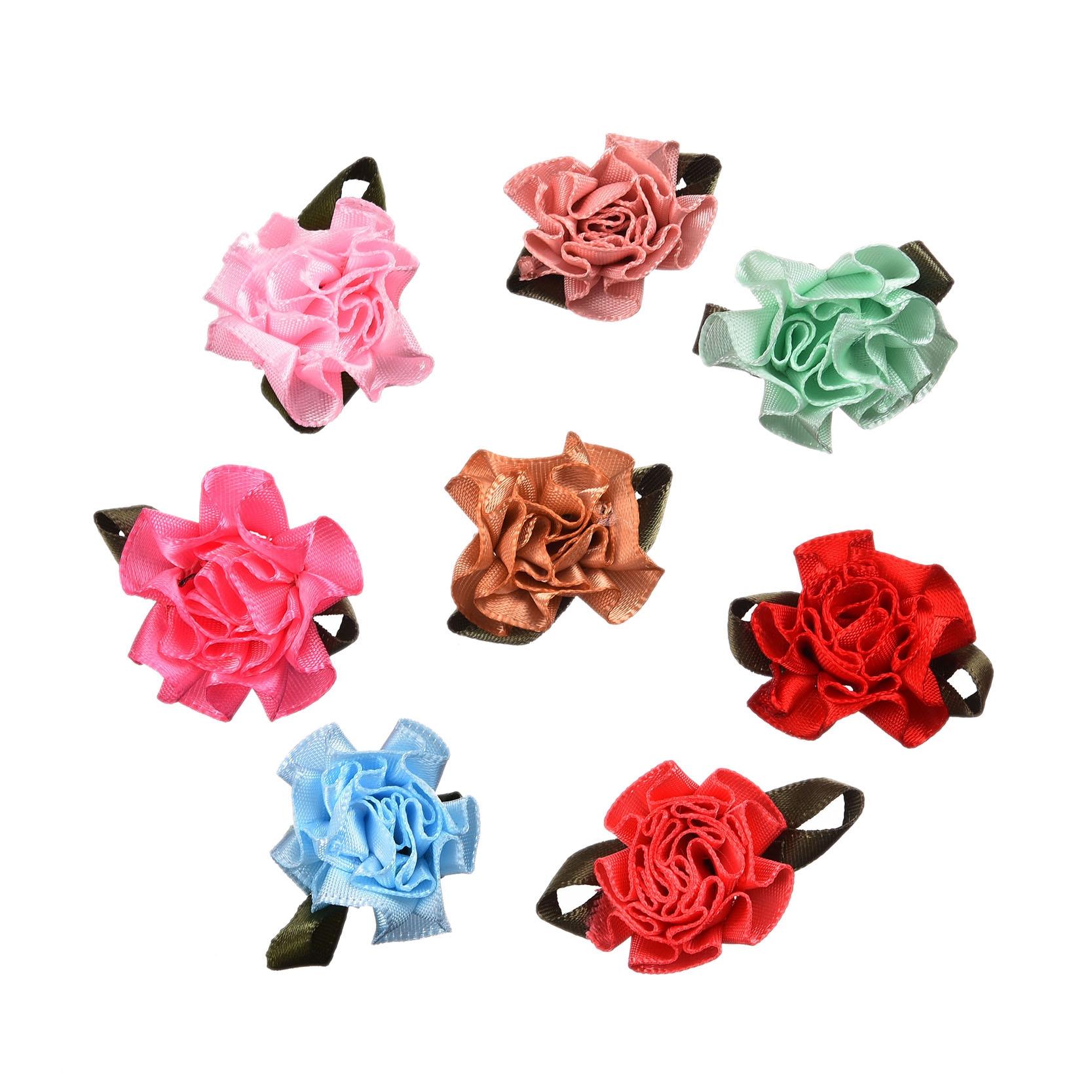 50pcs mixed satin ribbon fabric flowers applique diy craft for Applique decoration