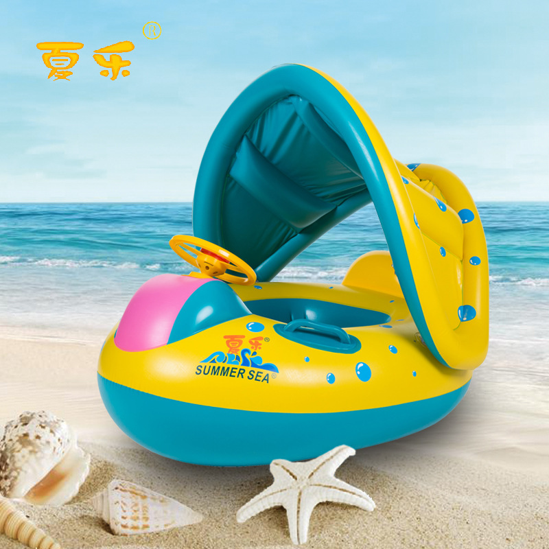 summer children's inflatable boat a sunshade Baby swimming by circle Baby swim ring Water toys water toy Inflatable swimming car(China (Mainland))