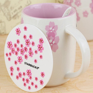 5 Pieces/Lot 2013 New Version Starbucks Embossed Cherry Blossom Coffee Cup Pad Table Mat Coaster Doilies Free Shipping Wholesale(China (Mainland))