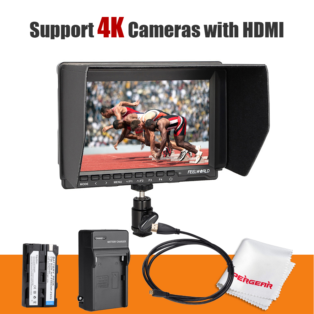 Feelworld FW-74K 7 Inch HD IPS 1280x800 Field <font><b>DSLR</b></font> Monitor HDMI + Battery + Charger for <font><b>Panasonic</b></font> GH4 SONY A7S SONY FS7 4K UHD